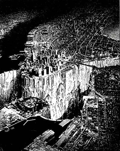 """Lower Manhattan"" (1999) by Lebbeus Woods"